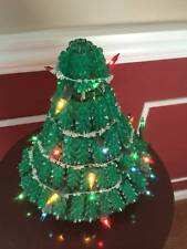 Vintage Handmade Green Beads with Silver Safety Pins Christmas Tree with Light
