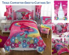 TROLLS Full/Double COMFORTER+SHEETS+CURTAINS Set Bed Room In a Bag Rainbow Poppy