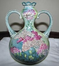 Beautiful Antique Hand Painted Nippon Moriage Porcelain Vase