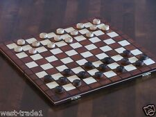 BRAND NEW HAND CRAFTED LARGE WOODEN DRAUGHTS/CHECKERS SET 39cmx39cm