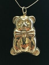 Beautiful Large Sterling Silver 925 Panda Teddy Bear Pendant