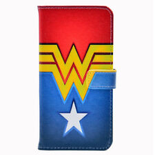 Wonder Woman Logo Leather Flip Wallet Card Holder Case Cover For iphone 7