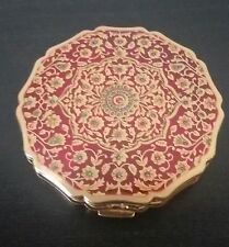Vintage STRATTON Powder Mirror COMPACT Made in England RED ENAMEL & GOLD Floral