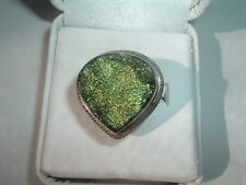 Beautiful Natural Canadian Ammolite Sterling Silver Ring Size 7 in Ring Box