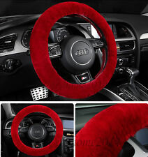 Red Car Steering Wheel Cover Woolen Auto Wool Plush Warmth Universal Wool Cover