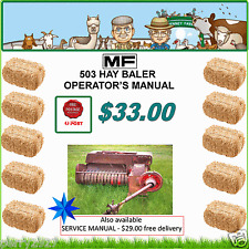 Massey Ferguson 503 SMALL SQUARE BALER - Operator's instructions - $33.00