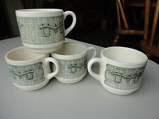4 RARE Royal China Green Old Curiosity Shop Mugs USA