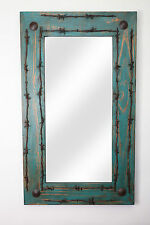 Old Ranch Rustic Barbed Wire Mirror-Mexican-20x34 in-Western-Cowboy-Turquoise