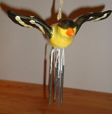 FINCH Yellow Black Bird ceramic Wind Chime
