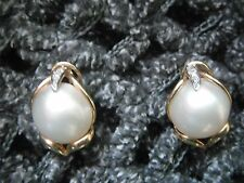Vintage Huge Gorgeous Solid 14K Yellow Gold Mabe Pearl Diamond Earrings Omega