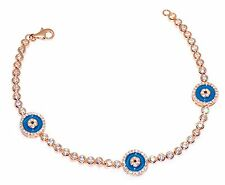 Sterling Silver 925 CZ Turkish Nazaar Blue Evil Eye Bracelet Rose Gold