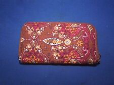 Paisley Print Cloth Wallet Maroon Purple Red Tones