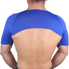 Large Blue Double Shoulder Neoprene Bandage Injury Support Wrap Sport Brace L UK