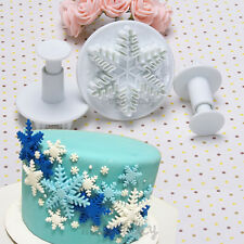 3x Snowflake Cookies Biscuit Cake Decorating Plunger Cutter Sugarcraft Mold Set