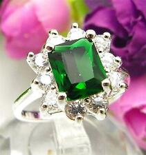 925 Sterling Silver Filled M35a Emerald Cocktail Engagement Ring Size 7