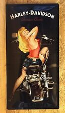 Harley Davidson Biker Babe Pin Up - Large Embossed Metal  Sign  ( 50 x 25 cm)