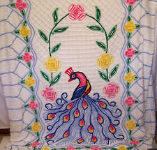 Vintage Chenille Bedspread Colorful Peacock and Flowers 90 in x 100 in