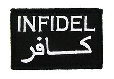 Infidel Arabic Tactical Funny Hook & Loop Morale Tags Patch Black and White