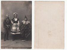 Kinder Narren b.Karneval als Harlekin Clown Mädchen im Dirndl,RPPC Foto um 1910
