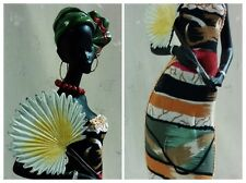 "NWT Statue of Lovely African Woman, Colorful Striped Dress+Fan & Jewelry 14.50""T"