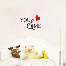 You And Me Wall Sticker Decal Quote Love Home Hearts Transfer Decor Art Vinyl
