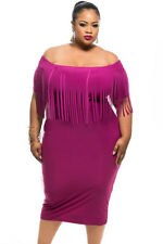 NEW Purple Plus Size Short Sleeve Fringe Bodycon Dress Club Party 16 18 20 22 24