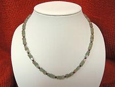 Fluorit grüne Würfel - Granat Kugel Kette 48 cm Schließe 925 Sterling Silber