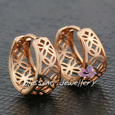 9K 9CT GOLD Filled Flower PATTERN Round Small HOOP EARRINGS Solid ES470 WOMENS