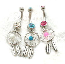Lot 3 Dream Catcher Belly Rings dangle button navel gem feather pink blue clear