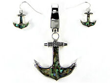 Abalone Magnetic Silver Toned Anchor Pendant With Matching Dangling Earrings