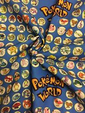 Pokemon world blue Fabric Sewing and Craft Material - Fat Quarter 50cm x 47cm