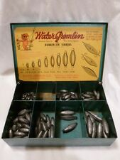 Vintage Water Gremlin Rubbercor Sinkers metal box with sinkers, various sizes