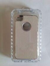 Funda carcasa para Iphone 4 4S slim piel blanca y plateada