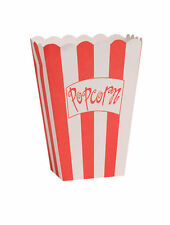 8 x Popcorn Bags Boxes Pouches Red & White Hollywood Oscar Movie Party FREE P&P