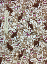 FLANNEL Fabric - Brown & Beige Cats Mouse String Off White Pets LAST 30""