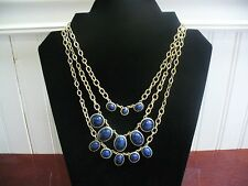 "Chico's 3 Strand Gold Tone Metal Link Chain Blue Plastic Dangles 19.5"" Necklace"
