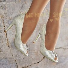 Ladies Wedding Bridal High Heel Ivory Floral Lace Peep toe Court Shoe Size 30505