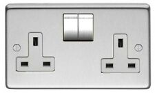 DOUBLE TWIN SOCKET, 2 GANG,  BRUSHED SATIN STAINLESS STEEL, MONEY BACK GUARANTEE
