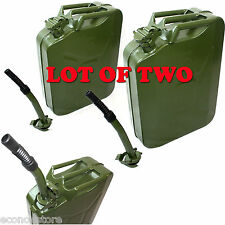 Lot of 2 5 Gallon Jerry Can Gas Fuel Steel Tank Green 20L Storage Refill Can NEW