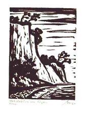 Kreideküste von Rügen - original Linolschnitt Franz Grickschat Nr 115 signiert