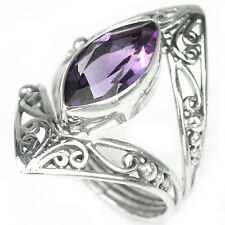 Sterling Silver 925 Genuine Natural Amethyst Filigree Ring Size P (US 7.75)