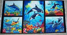 Island Sanctuary Dolphins Whales Quilt top Wall Panel Fabric 100% Cotton Sew
