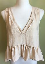 Free People Made In The USA Light Beige Ruffled Sleeveless HiLo V-Neck Crop Top