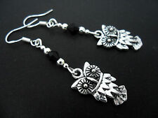 A PAIR  TIBETAN SILVER DANGLY OWL  EARRINGS WITH  STERLING SILVER HOOKS. . NEW.