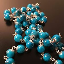 �� Pope Francis -Turquoise Blue Crystal beads Rosary - Blessed by Pope - Vatican