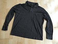 LORA PIANA Grey/Brown Cotton Blend Long Sleeve Polo Shirt L  Chest 44