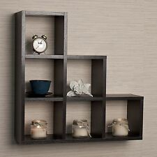 Trophy Display Shelf Cubby Shelves Wall Mount Decorative Floating Black Modern