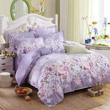 Purple Flower  Queen Size Bed Set Pillowcase Quilt Duvet Cover Not Comforter