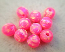 Wholesale LOT round loose bead full drilled hole 4MM hot pink fire opal 10 pcs