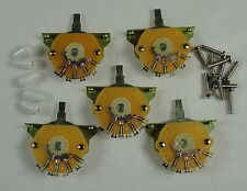 5 New Mighty Mite 5 Way switches for Fender Stratocaster Strat w/ White Tip